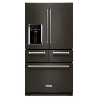 Kitchenaid 25 8 Cu Ft 5 Door French Door Refrigerator With Ice Maker Fingerprint Resistant Bla In 2020 Kitchen Aid French Door Refrigerator Outdoor Kitchen Appliances