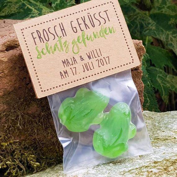 Guest Gift Wedding Frog i vintage, kraft paper, diy, Hochzeitsdeko, Vintagehochzeit, casual, green, love, gift, Candy