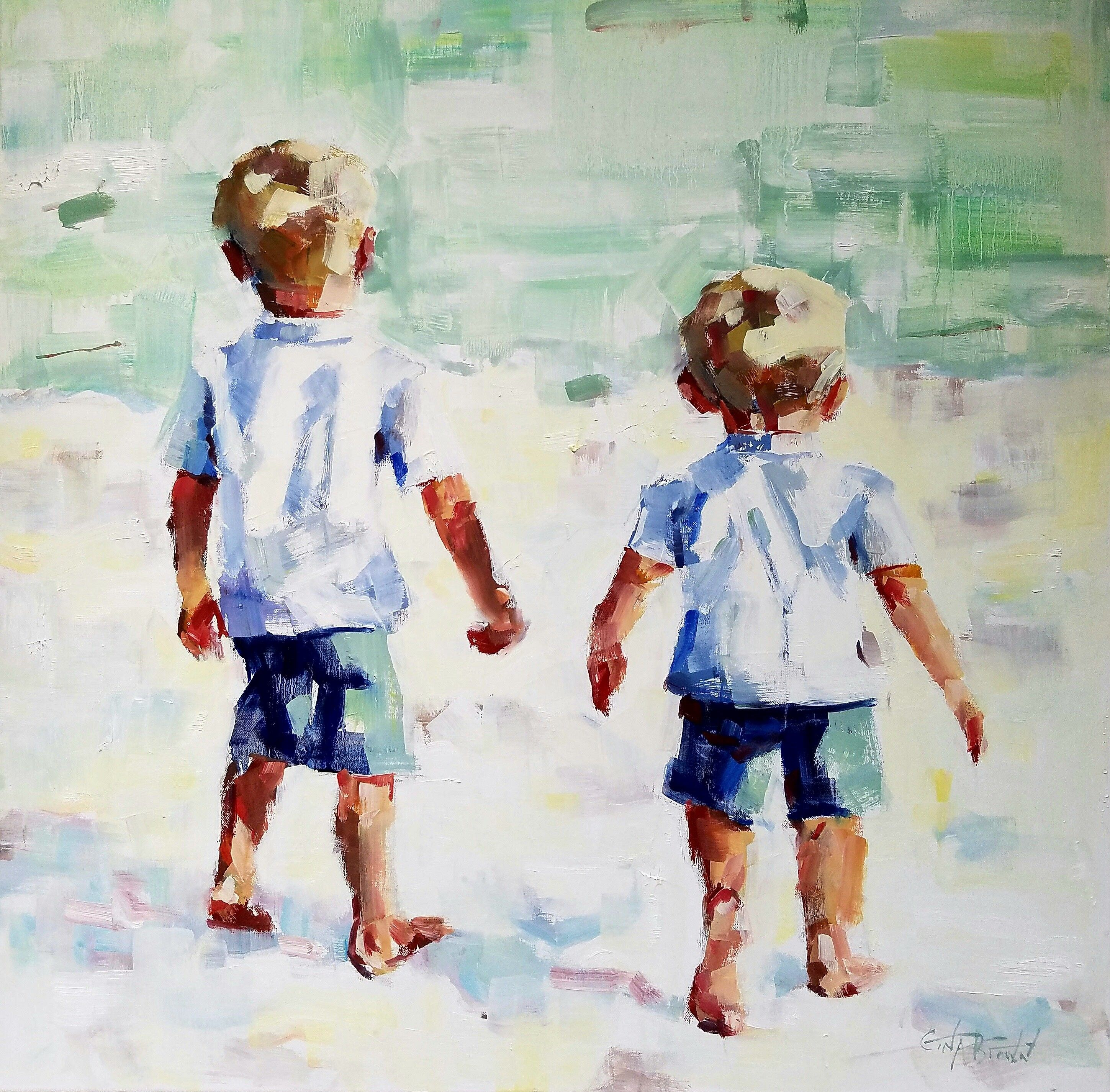"""Brothers"""" Impressionistic beach painting of two boys by Alabama artist Gina  Brown www.GinaBrownArt.com 