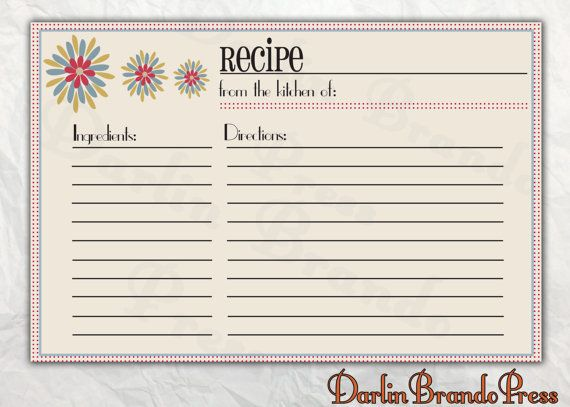 Retro Flowers Recipe Card by DarlinBrandoPress Paper Pinterest - free recipe card templates for microsoft word