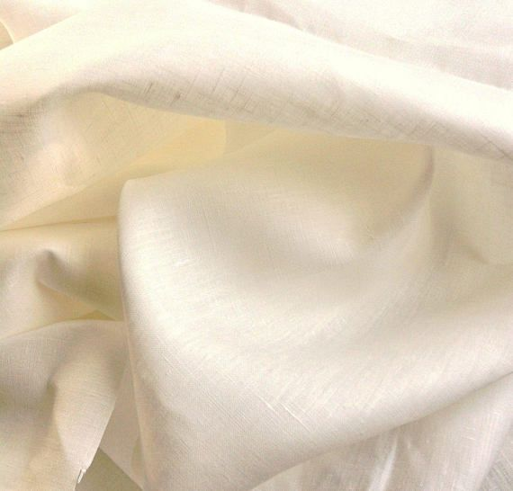 """57e8ac8d27f Linen Woven Fabric made in Europe 100% Linen 60"""" wide Light weight textile  (6.5 oz. Lineal/yd) PFD dyeable none dye Natural off white"""