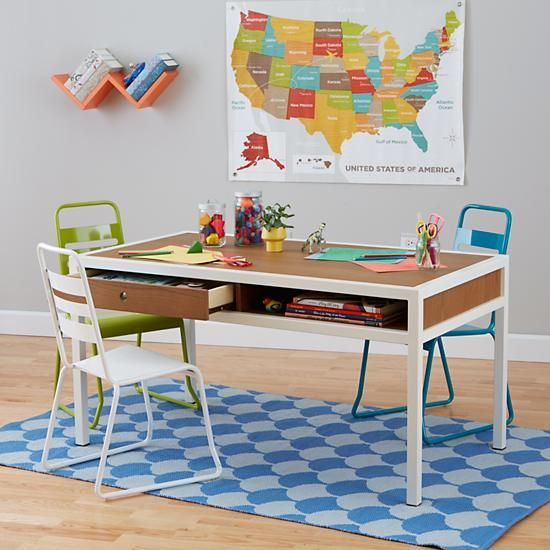 Adjule Hi Fi Modern Kids Play Table Walnut The Land Of Nod Adjusts From 24 5 H To 31 With Additional Extender Legs Sold Separately