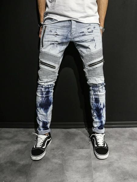 2Y Men Slim Fit Distressed Motor Biker Zippers Jeans - Washed Blue ... a729b083efb