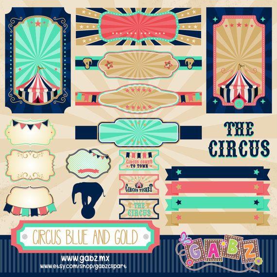 Circo azul y oro Imágenes Prediseñadas papel Digital