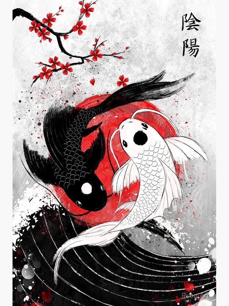 Koi Fish - Yin Yang Poster by Ruby-Art