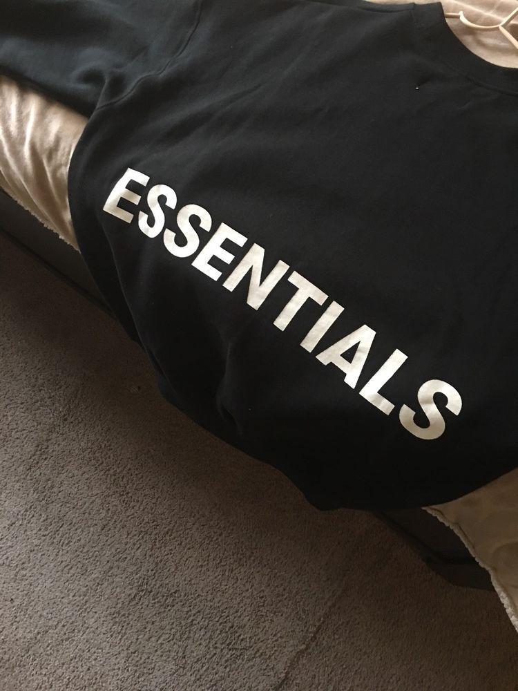 5b5dc75fe FOG - Fear Of God Essentials Sz SMALL Black Crew Neck Sweatshirt ...