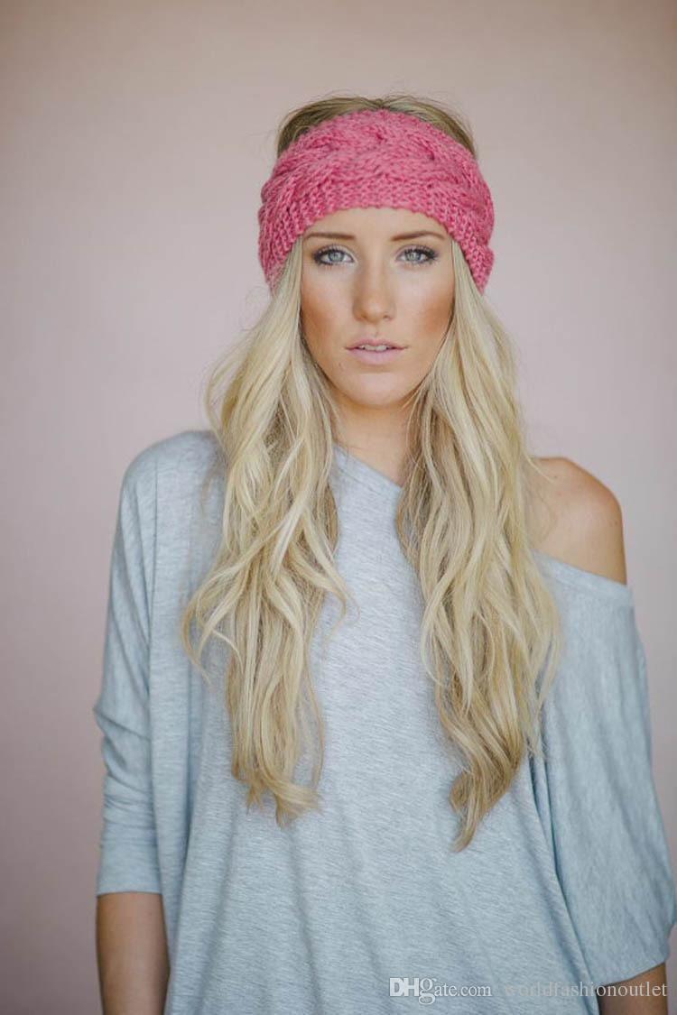 2016 fashion wool crochet headband knit hairband flower winter