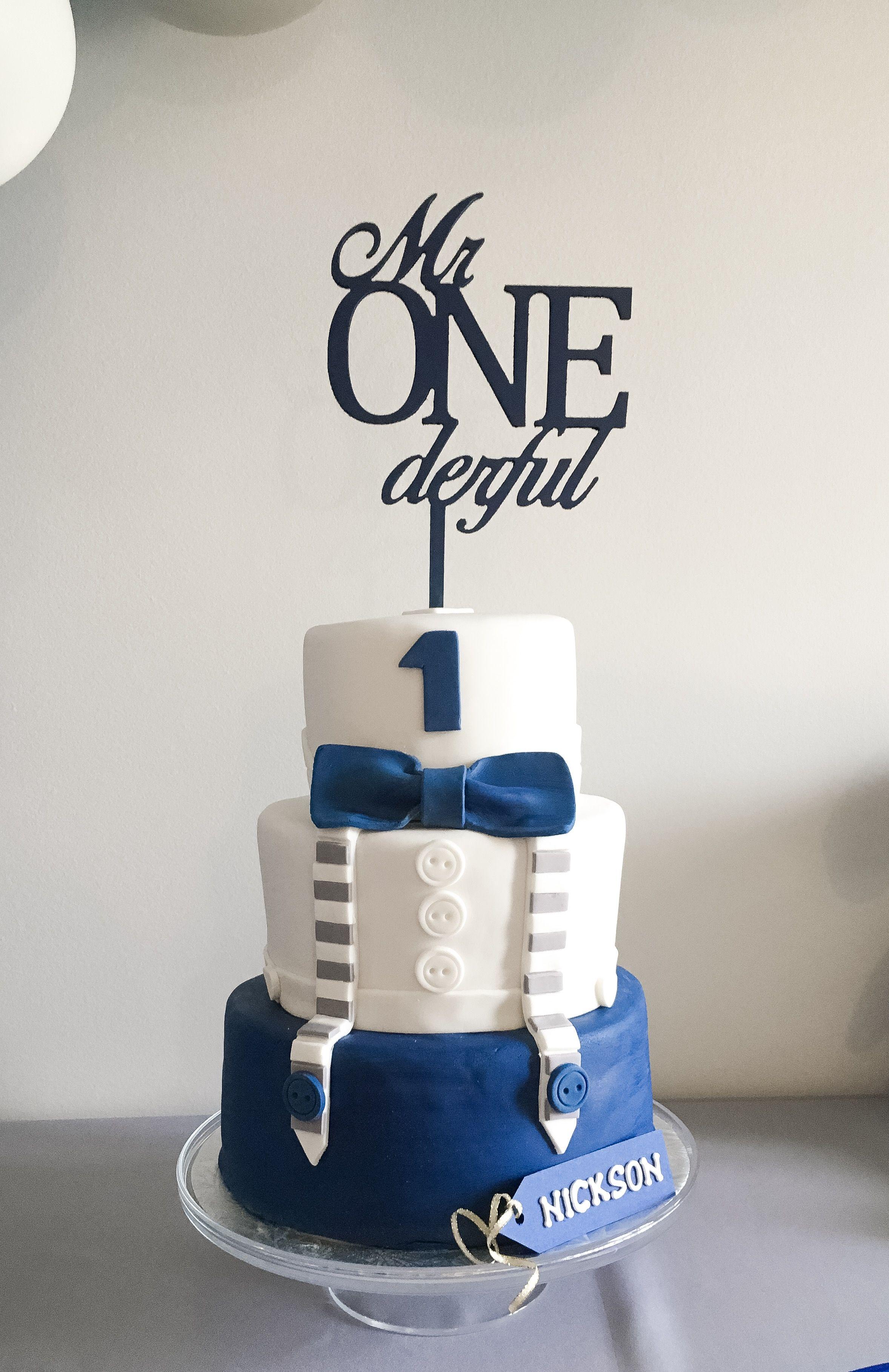 Mr onederful cake topper tuxedo birthday cake boy navy