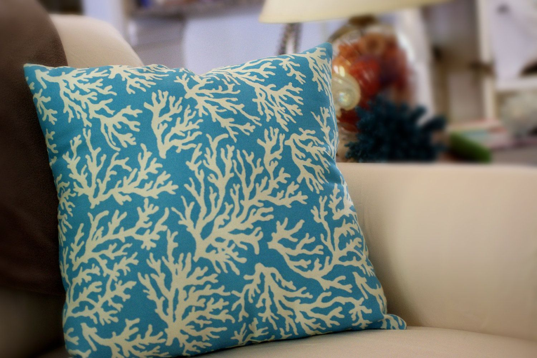 Sea Coral Throw Pillows : Beach Decor Ocean Blue and Ivory Sea Fan Coral 18x18 Throw Pillow Throw pillows, Ocean and Coral
