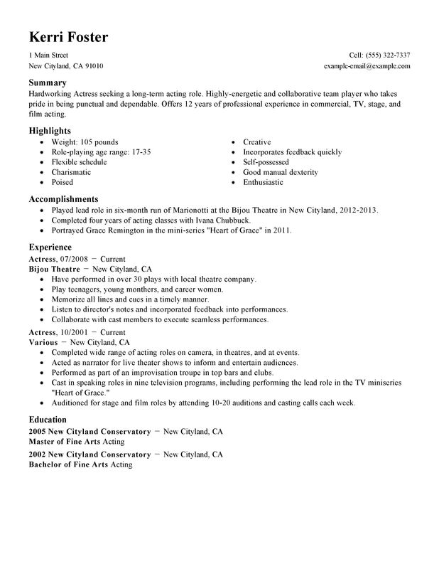 actoractress resume examples  free to try today
