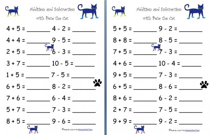 Math Worksheets Kindergarten Addition And Subtraction - Laptuoso