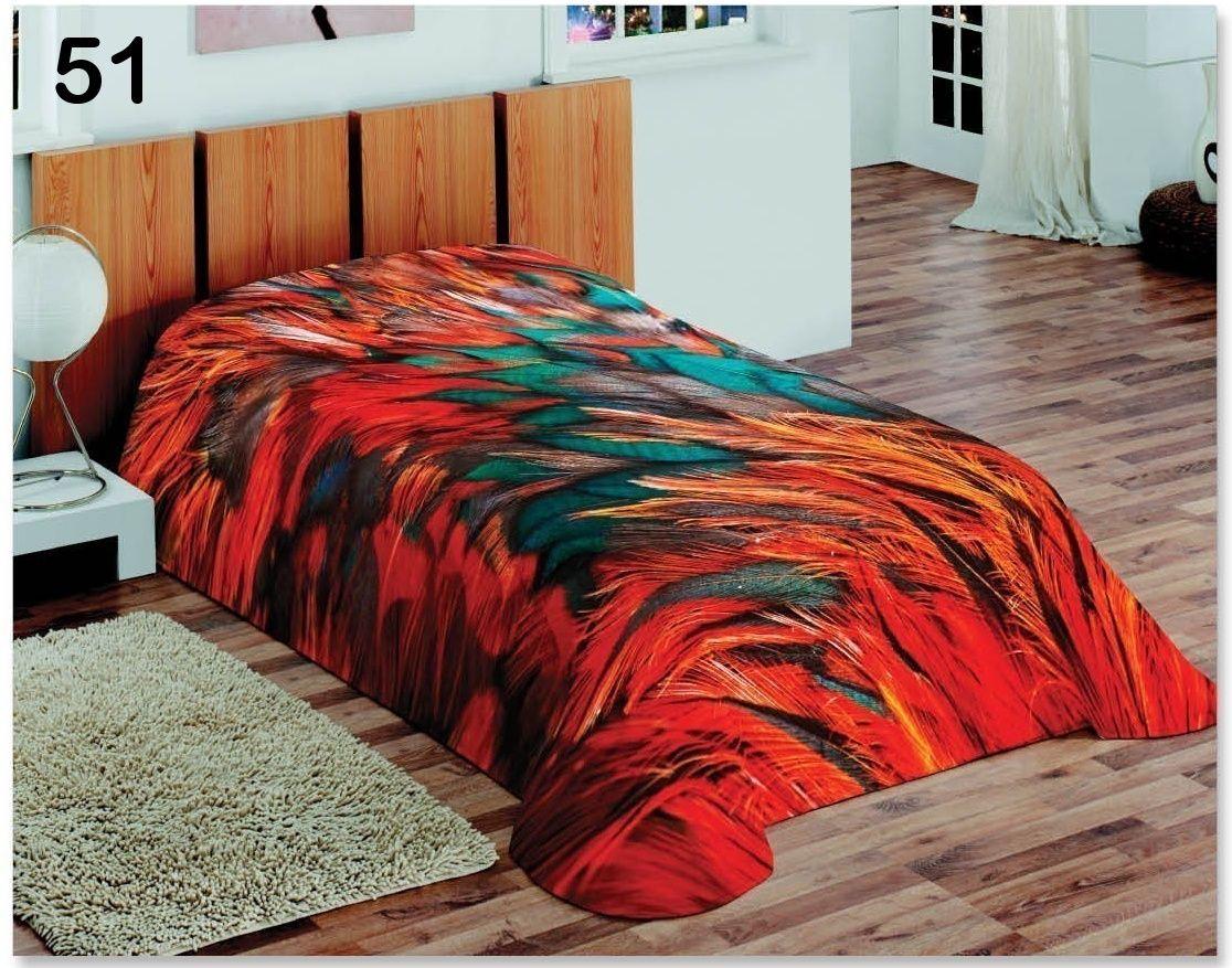 3D koce pomarańczowe na łóżka pojedyńcze z piórami