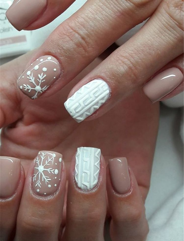 You will be full of praise for winter square snowflake nails ideas 3