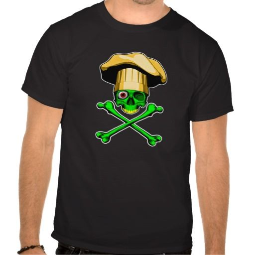 Zombie Chef Skull Tshirt Green Zombie chef skull wearing chef hat. Not all Zombie like their brains raw.