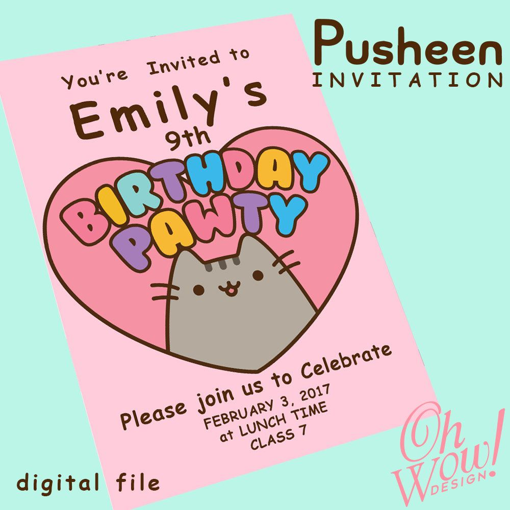 Pusheen Theme Party Invitation By OhWowDesign On Etsy 9th Birthday Parties 11th