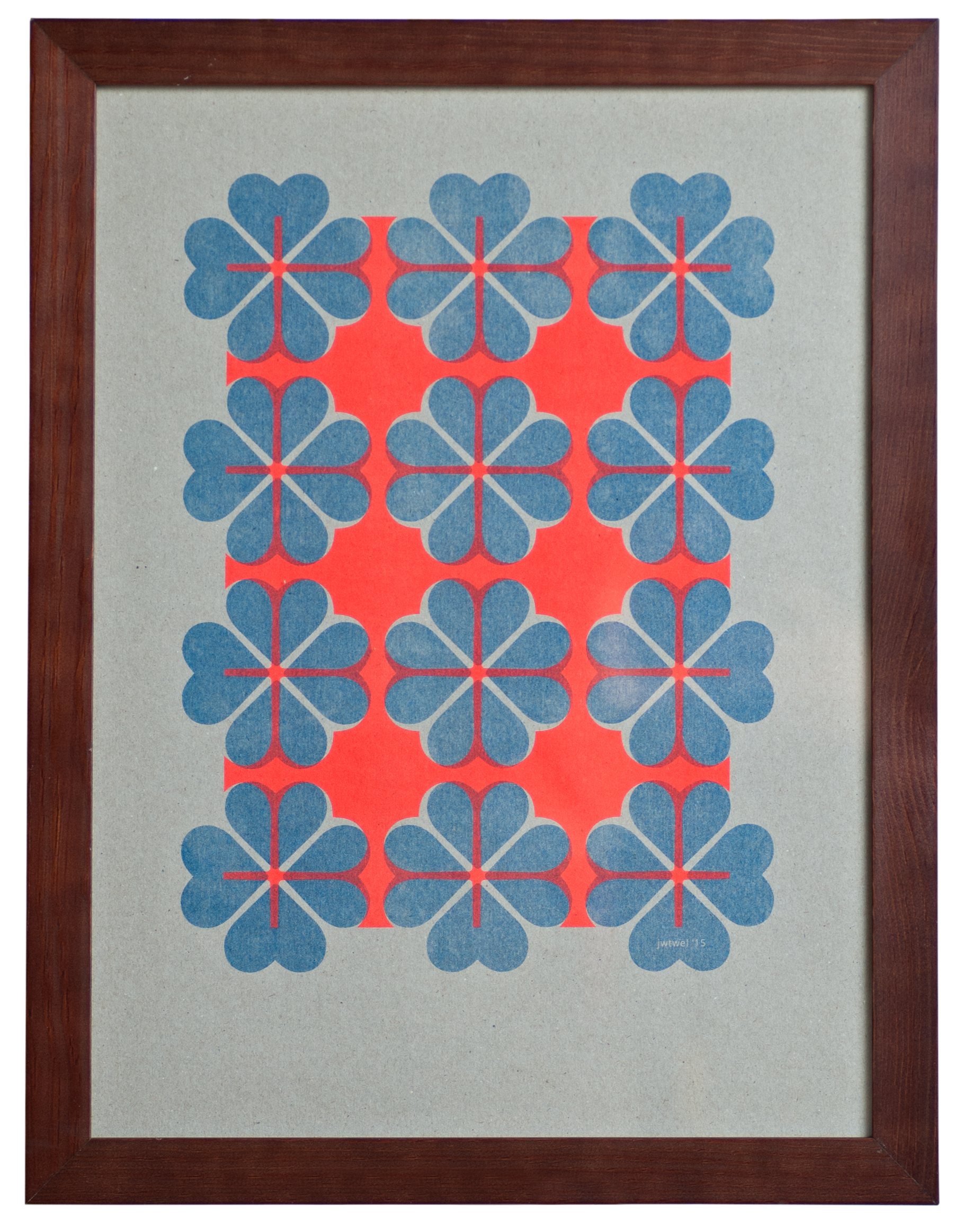 2 color poster design - Jwtwel 4heart Pattern A3 Poster 2 Color Riso Stencilprint Fluor_orange Blue Jwtwel