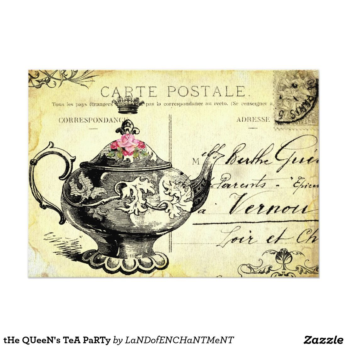 The queens tea party 5x7 paper invitation card downton abbey the queens tea party 5x7 paper invitation card monicamarmolfo Image collections