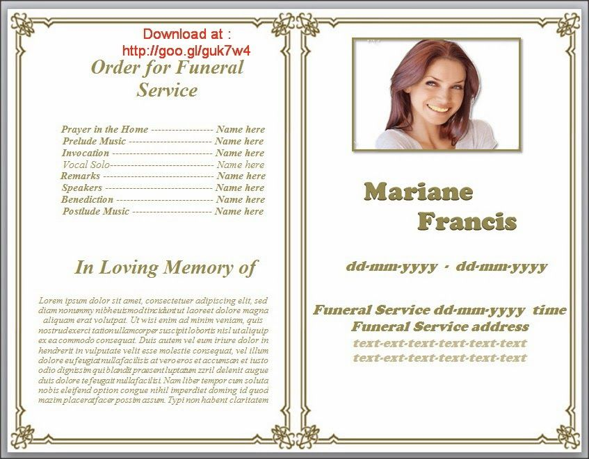 Funeral Pamphlet Templates Editable In Word In Classic Border Design,  Beautiful Layout In White Background  Free Funeral Templates For Word