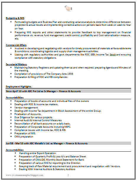 Good CV Resume Sample for Experienced Chartered Accountant (2 ...