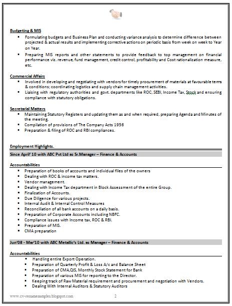Good Cv Resume Sample For Experienced Chartered Accountant 2 Cv Resume Sample Accountant Resume Accountant Cv