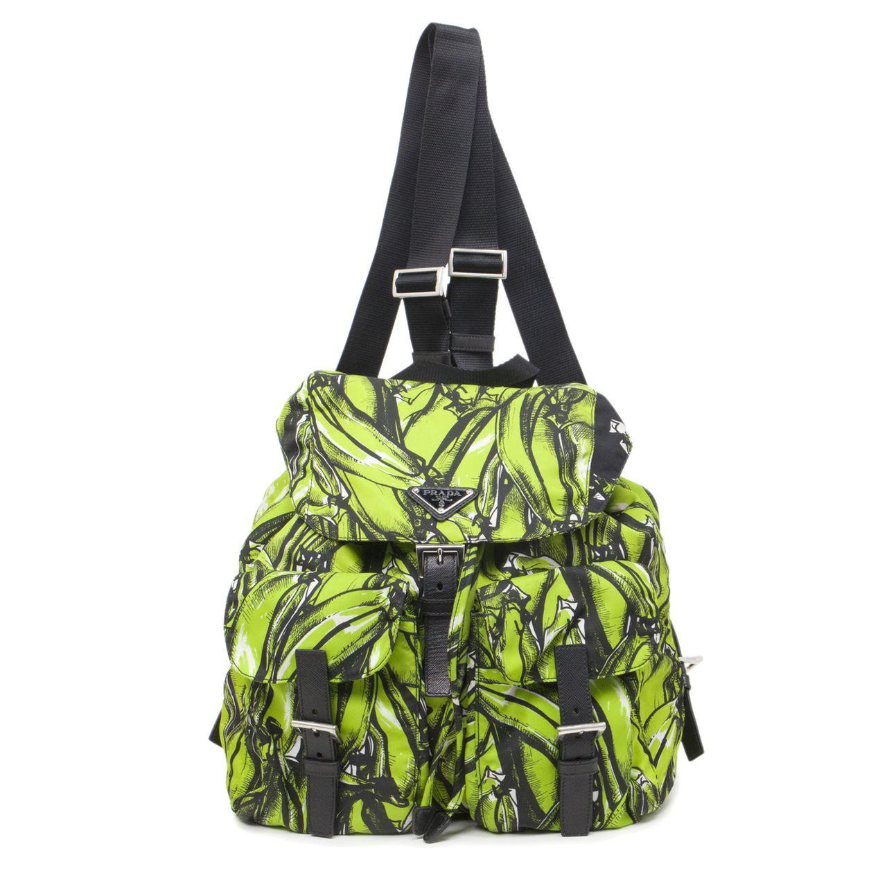 a1573d8df2cc24 Prada Green Tessuto Stampato Banana Print Backpack - modaselle ...