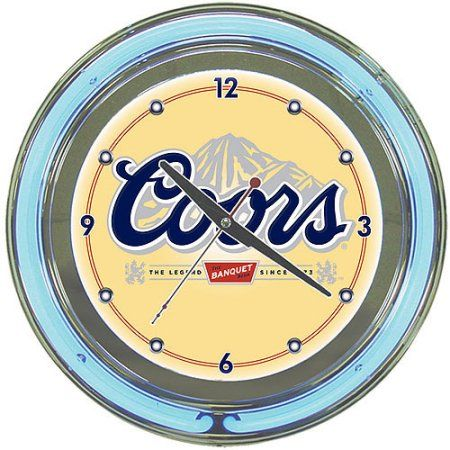 Coors Banquet 14 Inch Neon Wall Clock Walmart Com Neon Clock Wall Clock Clock