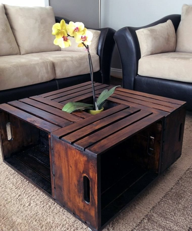 meuble de salon et table basse en caisse en bois de vin - Meuble Avec Caisse En Bois