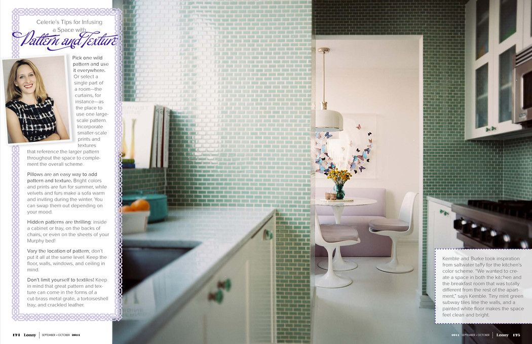 Have not had strong feelings about subway tile until now- love this green kitchen. Go big or go home is my subway tile philosophy, I guess? Duckworth apartment by Celerie Kemble/Anna Burke Sept/Oct 2011 Lonny