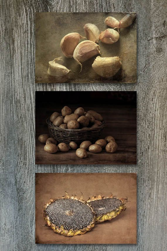 kitchen decor sets soap dispenser sink wall country set of 3 prints rustic fine art this features three farmhouse potatoes in the basket garlic and sunflower seeds