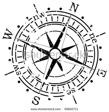 Vector Black And White Illustration Of Old Compass Grunge Style