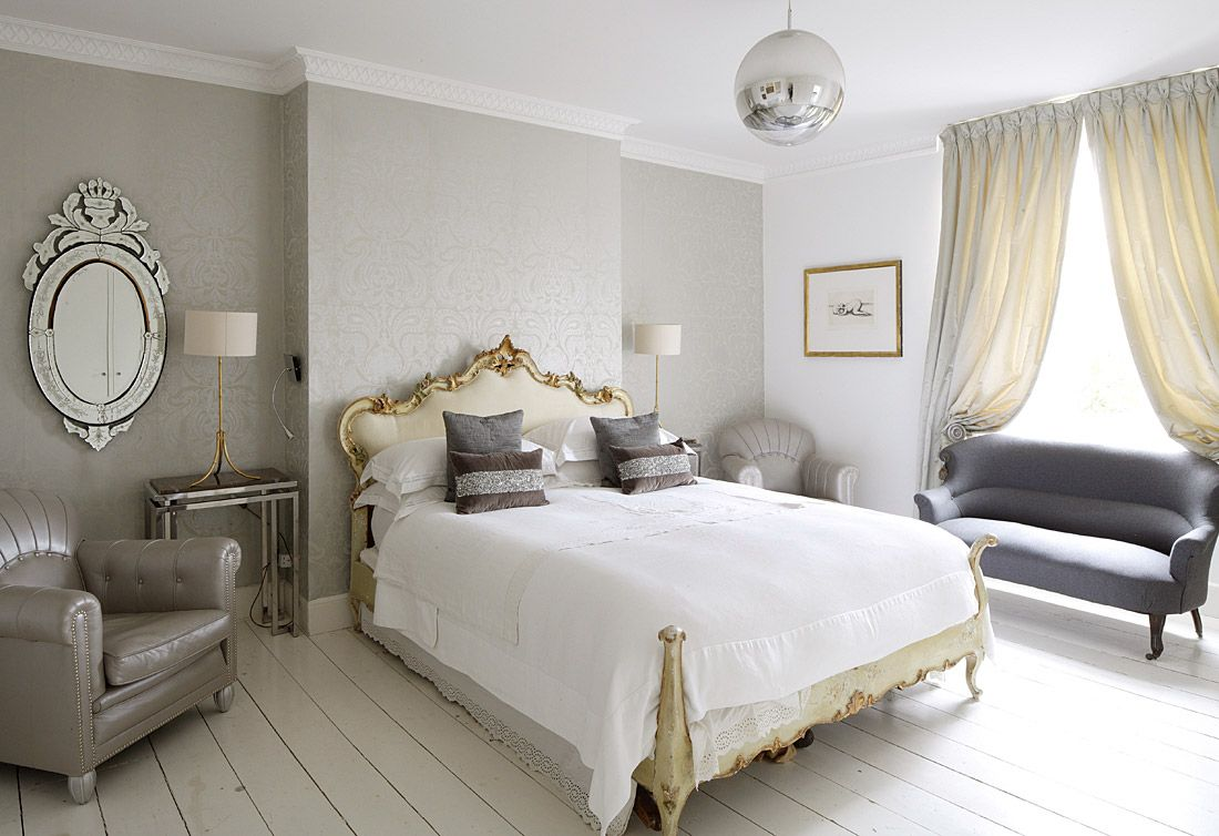 peaceful bedroom grey and gold.. Can be done! Grey and