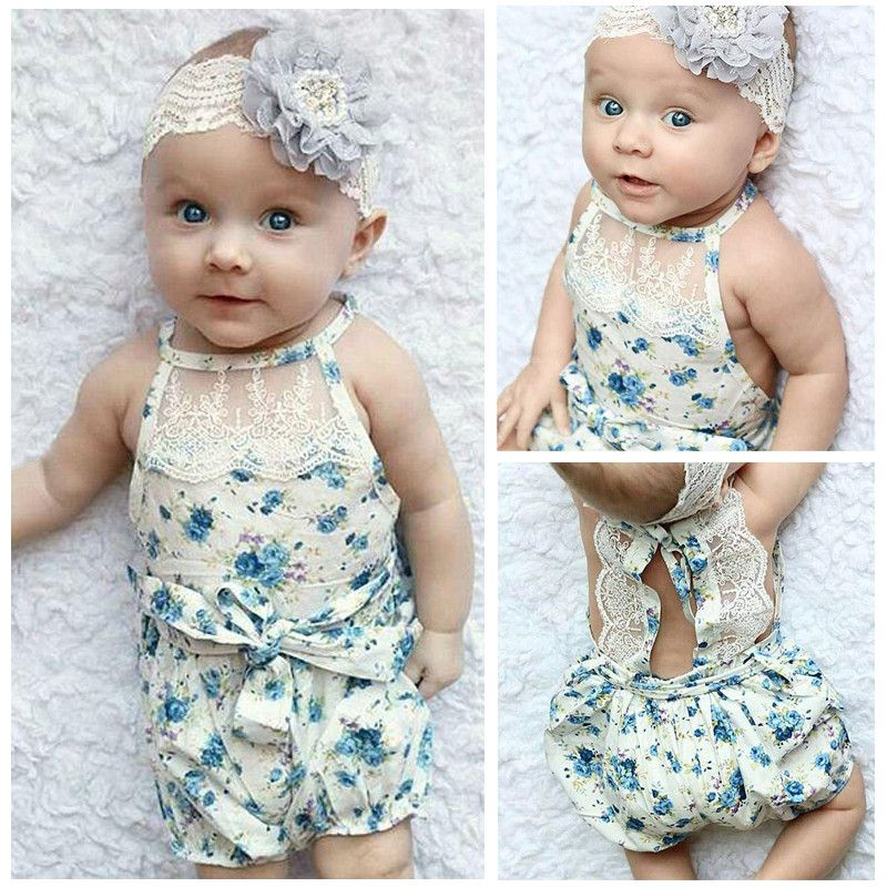 a6bf93c8124f Cute Newborn Lace Rompers Infant Clothes Baby Girl Floral Romper ...