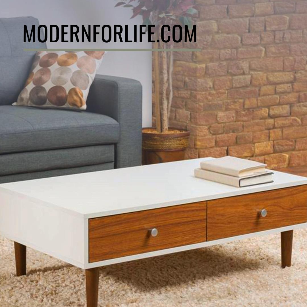 Modern Mid Century Style White Wood Coffee Table With 2 Drawers Video Coffee Table Wood Mid Century Modern Coffee Table Living Room White [ 1080 x 1080 Pixel ]