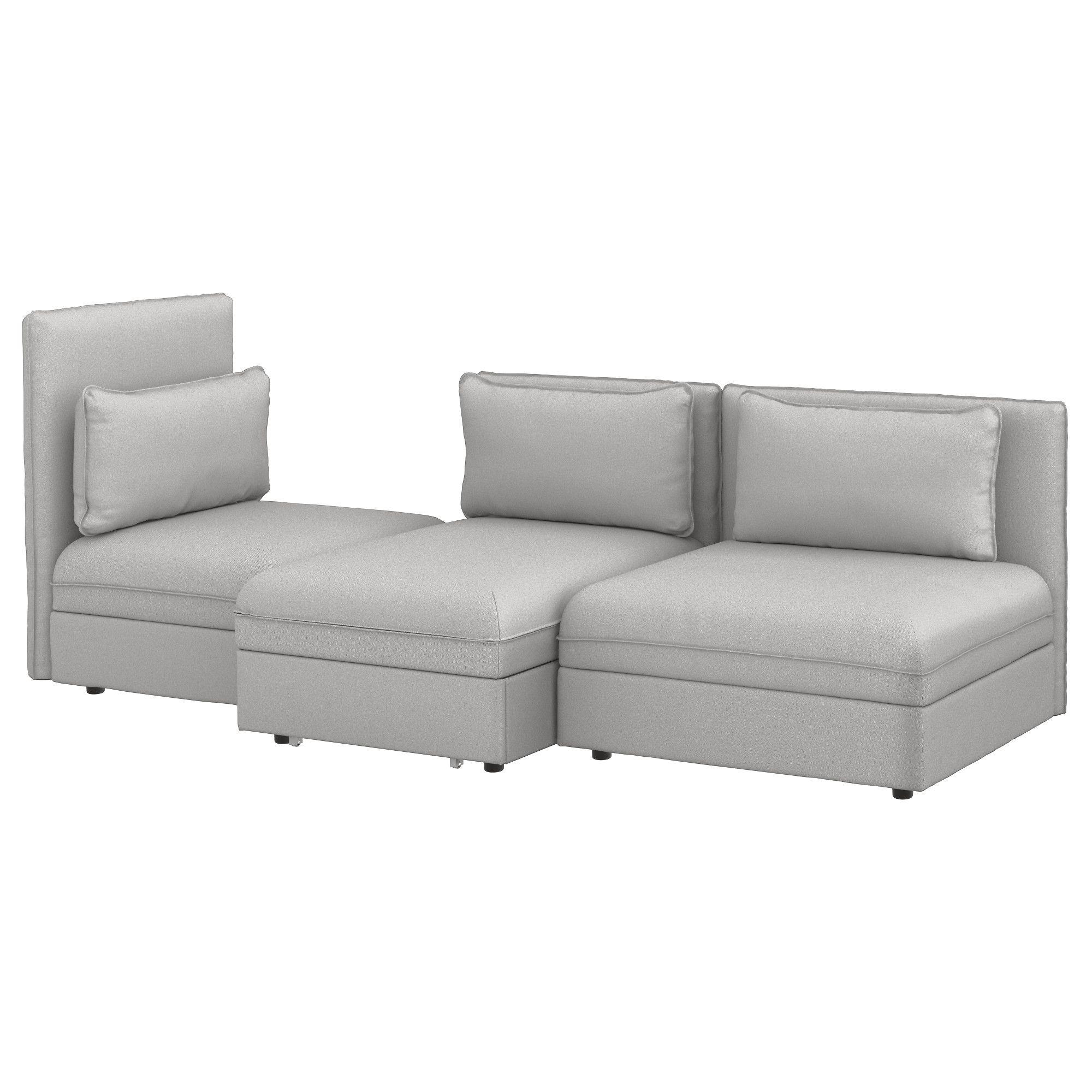 VALLENTUNA 3er Sofa mit Liege Orrsta hellgrau hellgrau Jetzt
