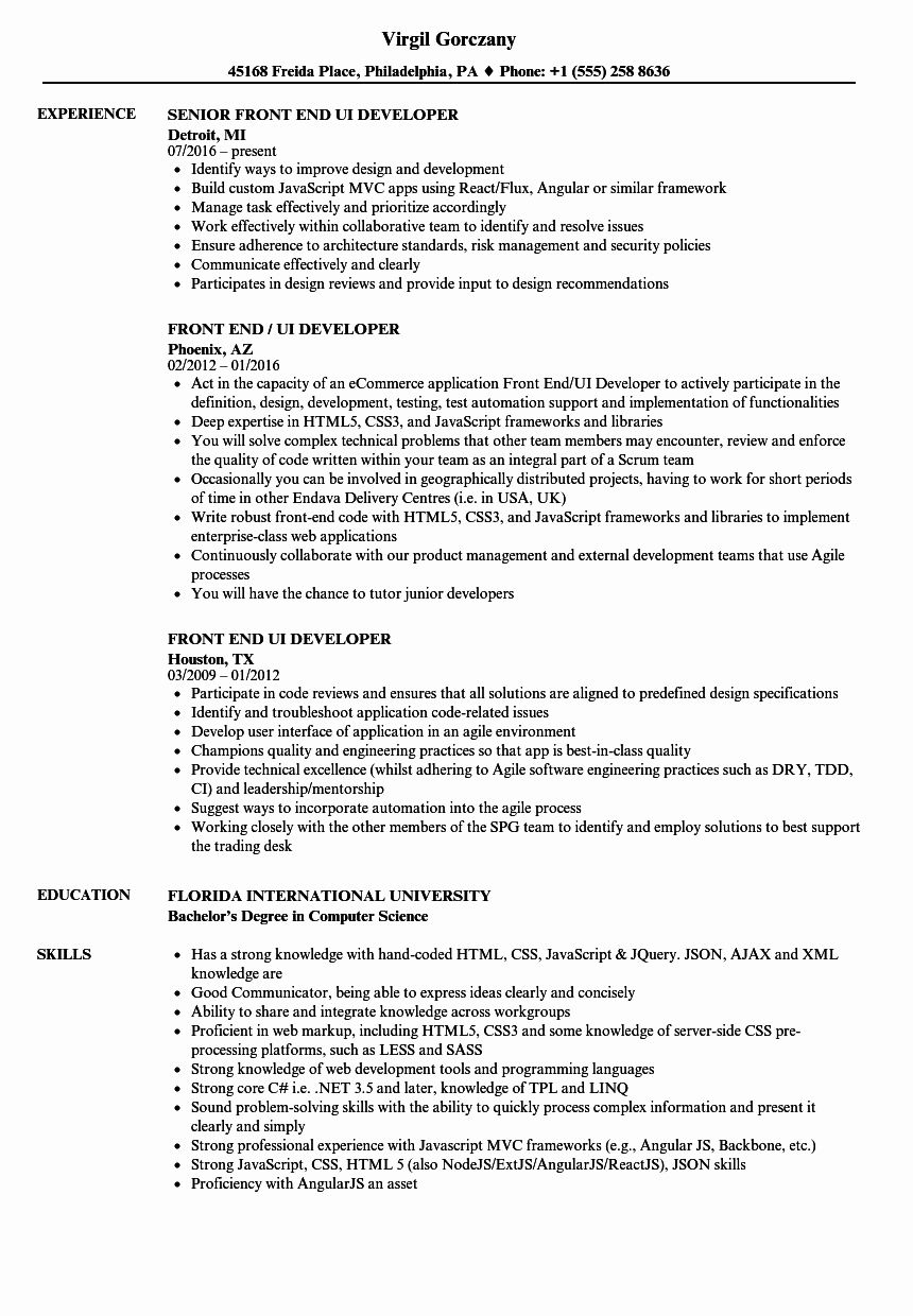 20 Front End Engineer Resume in 2020 Job resume samples