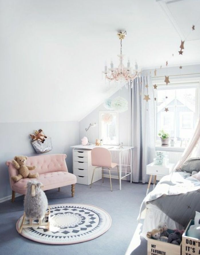 1001 conseils et idees pour une chambre en rose et gris for Canapé convertible scandinave pour noël deco chambre fille