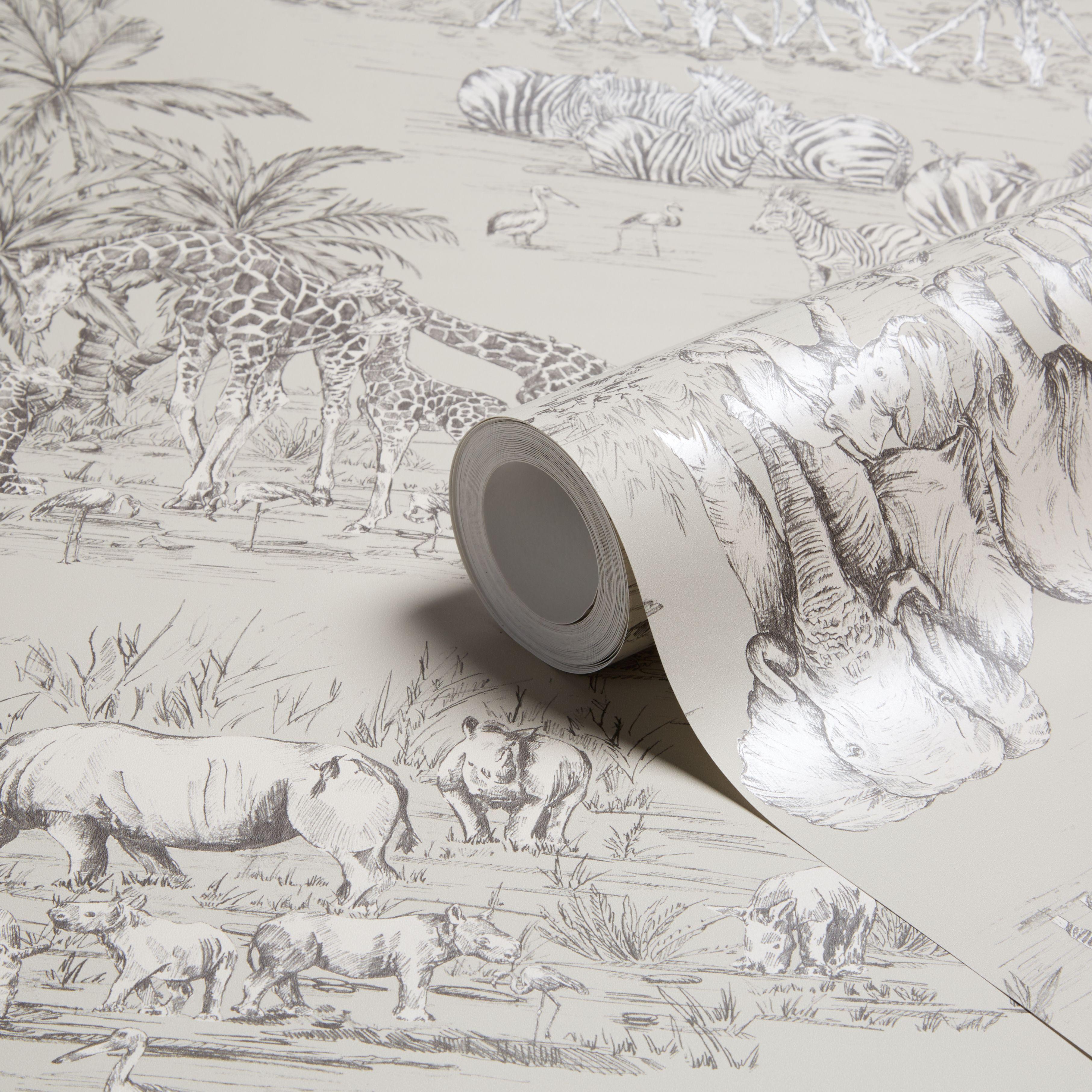 B q bathroom scales - Colours Watering Hole Taupe Animal Safari Metallic Wallpaper