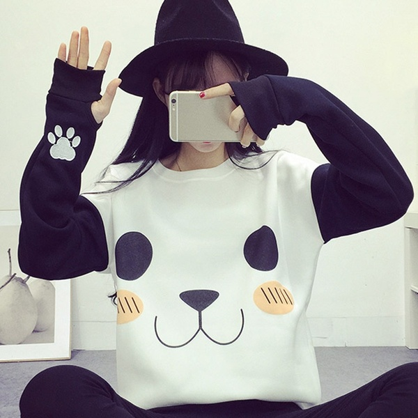 Cute Panda Pullover Hoodies Kawaii White Long Sleeve Women Autumn Winter Cartoon Outwear Hoody Loose Jacket  Wishautumn Cute Panda Pullover Hoodies Kawaii White Long Slee...