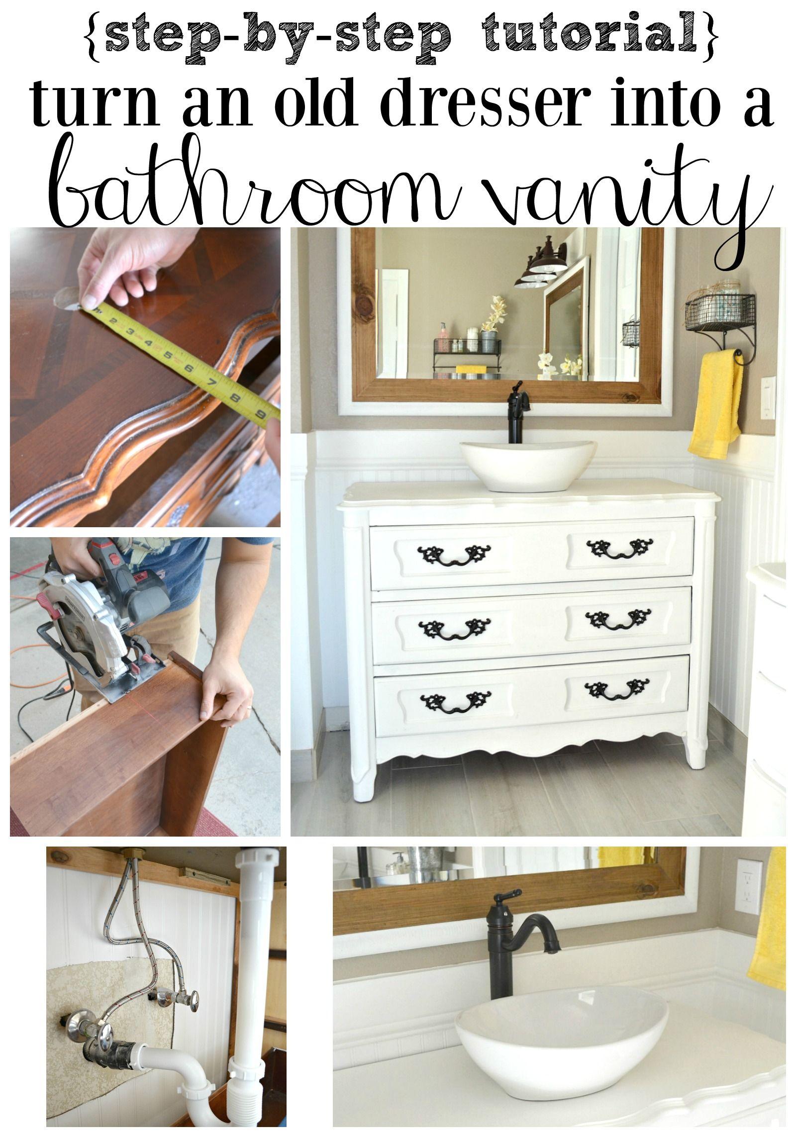 Old Dresser Turned Bathroom Vanity Tutorial Dresser Vanity