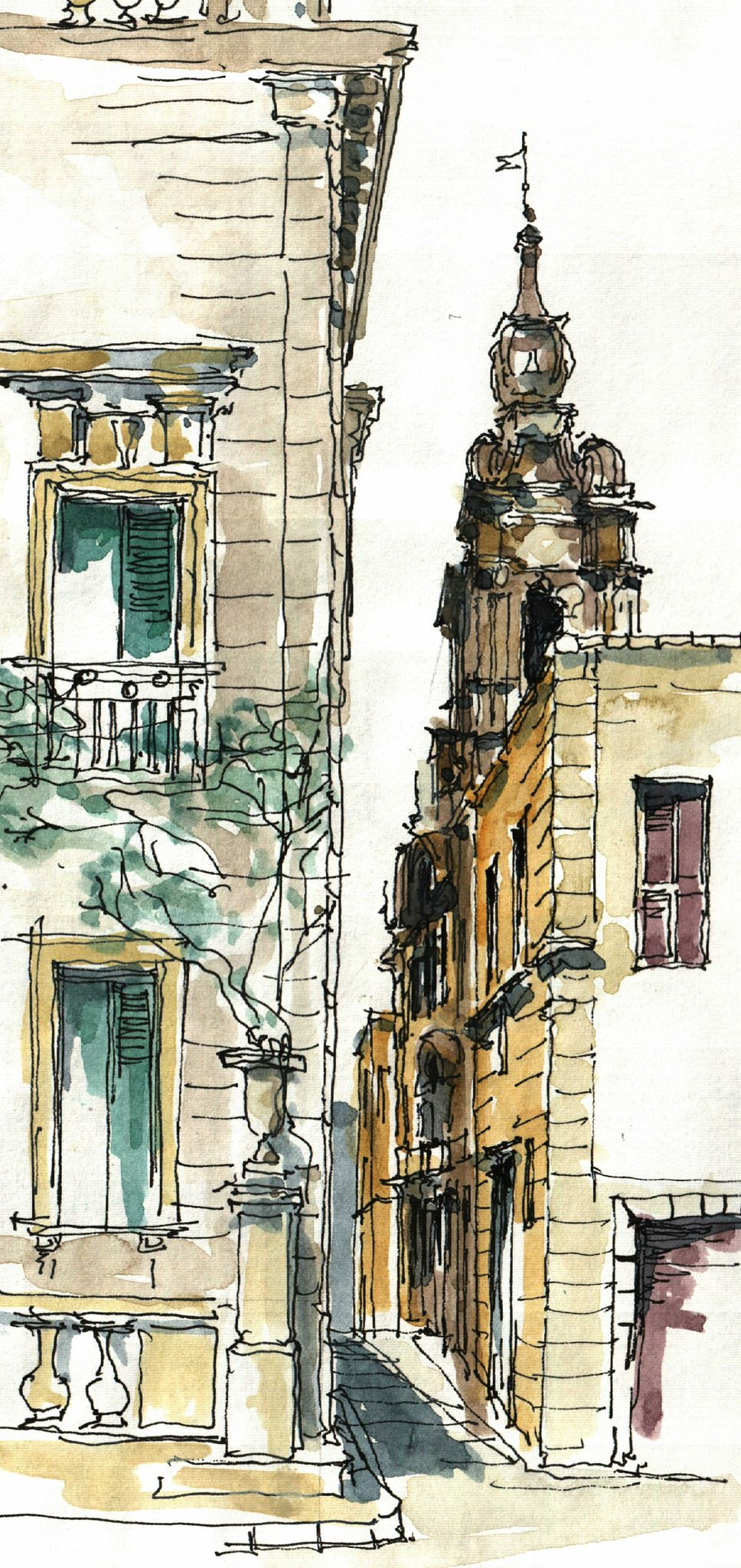 Mdina Malta In 2020 Watercolor Architecture Watercolor Sketch