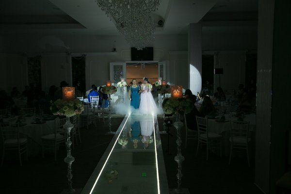 Dimmed lights, spotlight and fog when bride walks down the aisle. narrow aisle.
