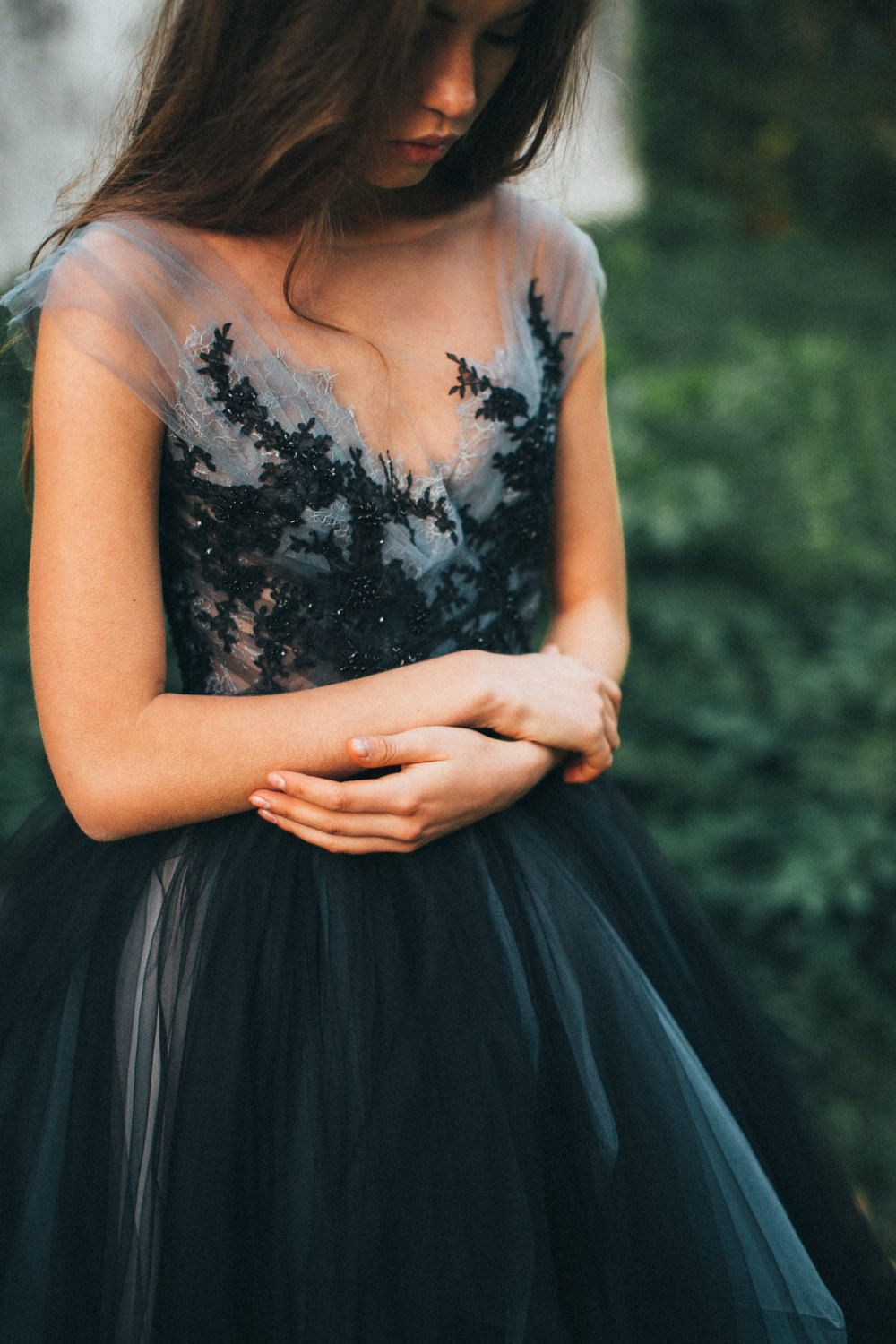 Tulle wedding dress calypso nightfall black bridal gown lace