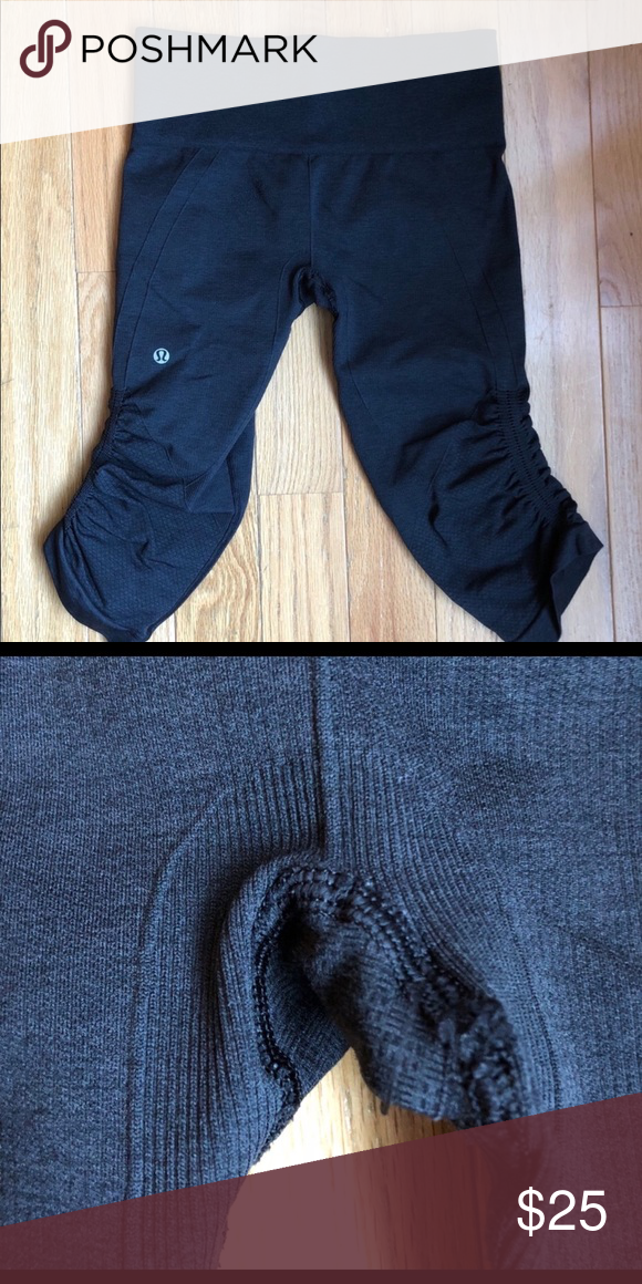 c2cd669b34a8c Lululemon leggings capris Cinched Capri leggings in great condition. Minor  pilling as shown. Size 6. Dark grey lululemon athletica Pants Leggings