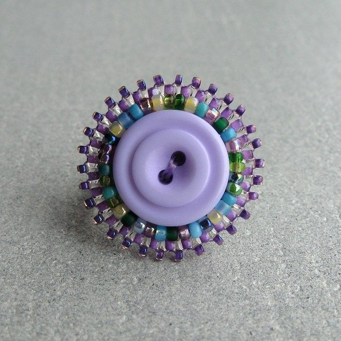 Button Ring Persephone Bead Embroidered Lilac by TheCrimsonMoon, £8.00