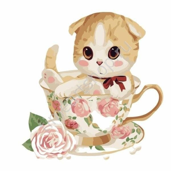 котенок в кружке с розочками 450 руб. картины раскраски по ...