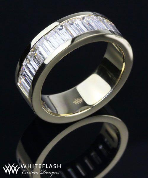 baguette custom wedding band Say I do Rings for Him Pinterest