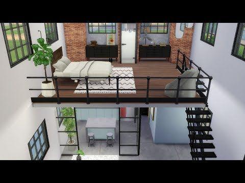 The Sims 4 Industrial Loft Speed Build Loft Build Building Industrial Loft Sims Speed Sims Freeplay Houses Sims House Sims 4 House Design
