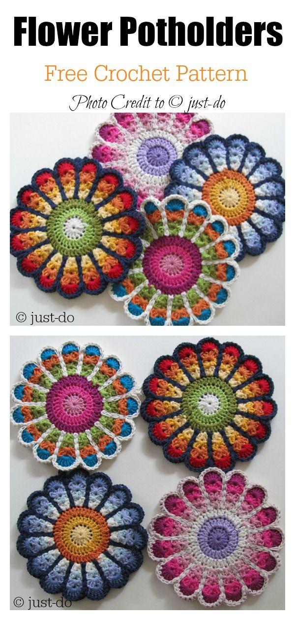 Colorful Crochet Flower Pot Holder with FREE Pattern #crochetpotholderpatterns