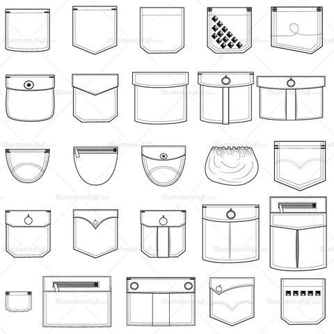 Bolsillos flats flats of fashion pinterest sketches a set of 25 assorted vector pocket illustrations to be used on shirts pants and outerwear pronofoot35fo Choice Image
