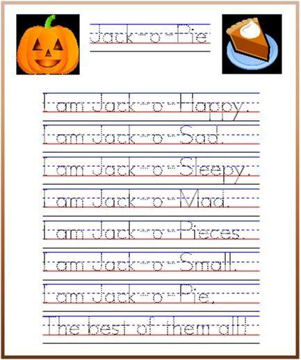 jack o pie pumpkin poem and handwriting practice from startwrite improving handwriting. Black Bedroom Furniture Sets. Home Design Ideas